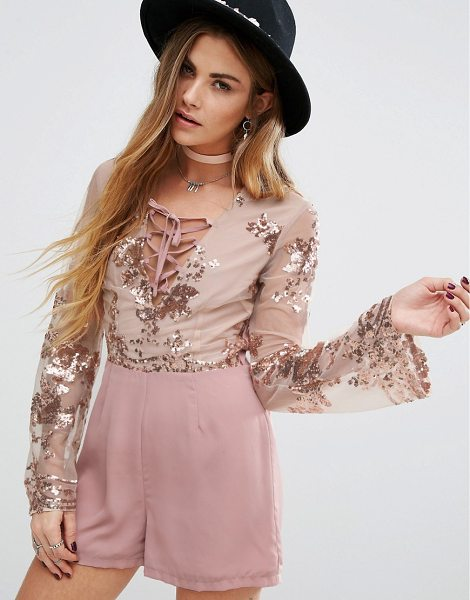 """Young Bohemians Romper With Delicate Floral Sequin in pink - """"""""Romper by Young Bohemians, Woven fabric, Partially..."""