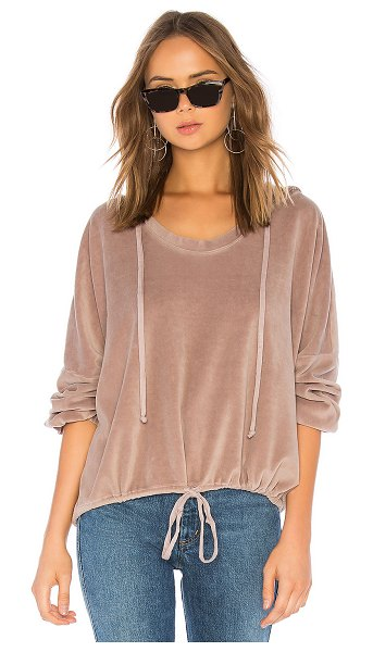 Young Fabulous & Broke Fantasia Sweatshirt in taupe - 75% cotton 25% poly. Attached drawstring hood....