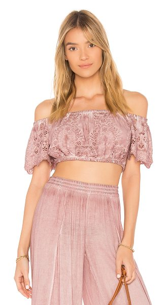Young Fabulous & Broke Flirt Top in mauve - Cotton blend. Hand wash cold. Allover eyelet fabric....