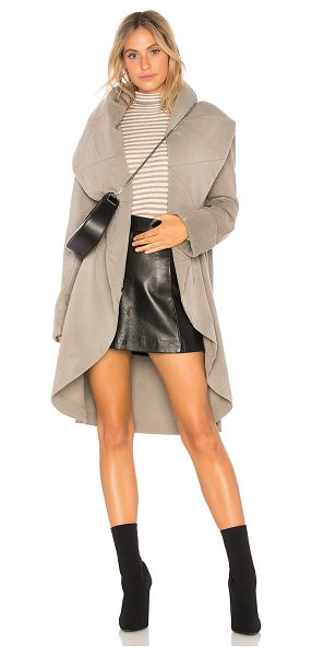 Young Fabulous & Broke Sandrine Coat in stone - 50% cotton 50% modal. Draped open front. Side seam...