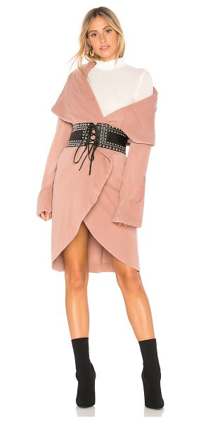 Young Fabulous & Broke Sandrine Coat in rose - 50% cotton 50% modal. Draped open front. Side seam...