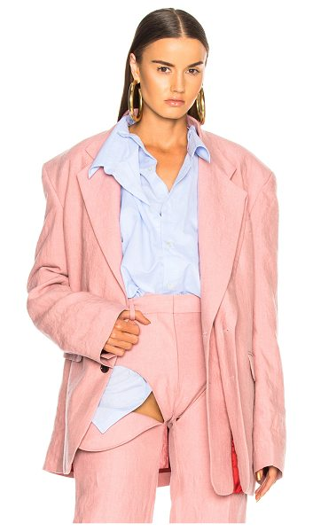 Y/PROJECT Blazer in pink - Self: 100% linen - Lining: 100% acetate.  Made in...