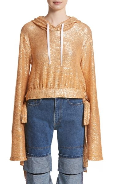 Y/PROJECT sequin drawstring hoodie in gold - Casualwear goes glam in this slouchy, cinchable hoodie...