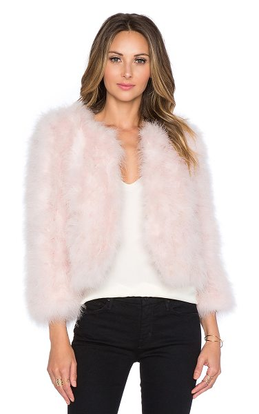 Yumi Kim Away we go faux fur feather jacket in pink - Self: 100% feathersLining: 100% poly. Dry clean only....