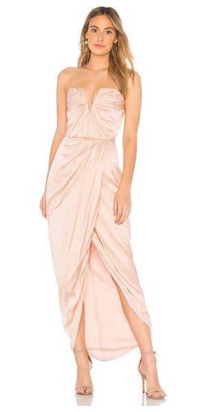 """Yumi Kim Bombshell Dress in blush - """"Self: 100% silkLining: 100% poly. Dry clean only. Fully..."""