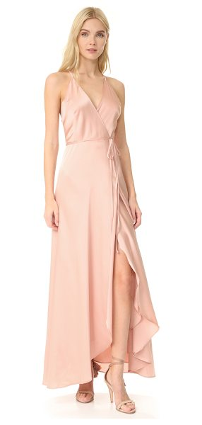 Yumi Kim rush hour maxi dress in blush - A graceful Yumi Kim wrap dress cut from slinky satin....