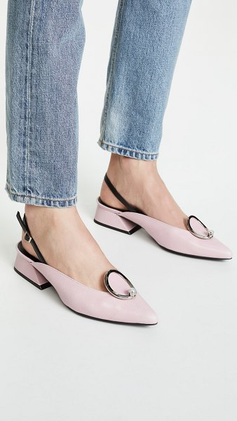 Yuul Yie zizi slingback pumps in baby pink - Leather: Calfskin Imitation pearl at vamp Pumps Chunky...