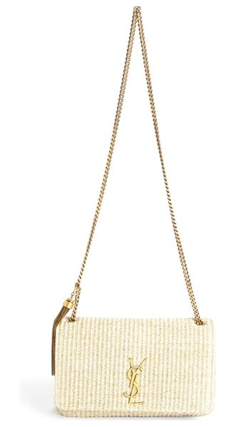 Saint Laurent medium kate raffia shoulder bag in natural - A gleaming YSL monogram beautifully highlights the...