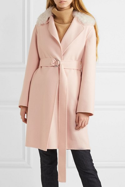 Yves Salomon belted shearling-trimmed wool and cotton-blend coat in blush - Heritage and craftsmanship are at the heart of Yves...