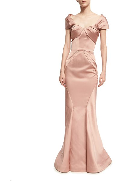 Zac Posen Off-the-Shoulder Sweetheart Mermaid Gown in rose - Zac Posen gown in lustrous satin. Off-the-shoulder...