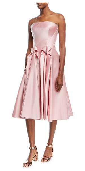 Zac Posen Strapless Double-Face Duchess Satin Tea-Length Cocktail Dress in pink - EXCLUSIVELY AT NEIMAN MARCUS Zac Posen cocktail dress in...