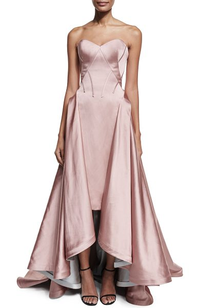 Zac Posen Strapless Pleated High-Low Gown in rose - Zac Posen seamed double-faced duchess gown. Strapless,...
