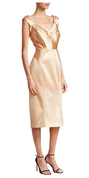 Zac Posen stretch satin cocktail dress in champagne - Delicate gathering and origami-inspired pleating...