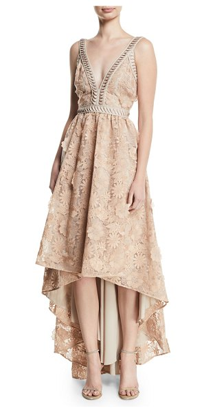 "Zac Zac Posen Bettina V-Neck High-Low Gown in beige - ZAC Zac Posen ""Bettina"" gown in 3D floral lace. Approx...."