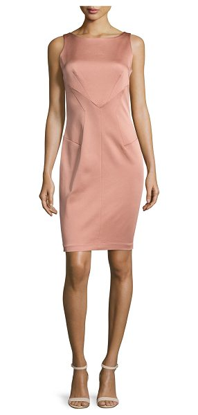 "Zac Zac Posen Delilah Sleeveless Bateau-Neck Sheath Dress in sandstone - ZAC Zac Posen ""Delilah"" stretch-woven dress. Bateau..."