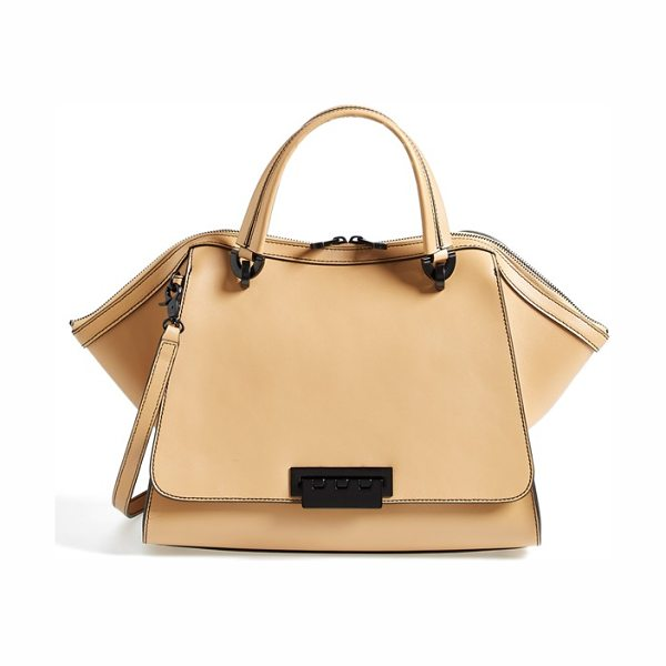 Zac Zac Posen Eartha double handle leather satchel in camel - Black hardware, edges and topstitching bring attention...