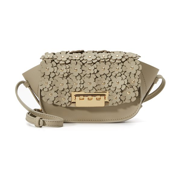 Zac Zac Posen Eartha floral cross body bag in beige - A dense arrangement of floral appliqués covers the top...