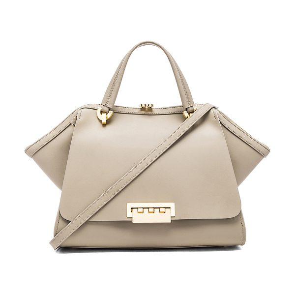 Zac Zac Posen Eartha Iconic Jumbo Double Handle Bag in taupe - Leather exterior and lining. Zip top closure. Exterior...