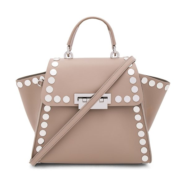 Zac Zac Posen Eartha Iconic Top Handle Stud Bag in taupe - Leather exterior and lining. Flap top with fold over...