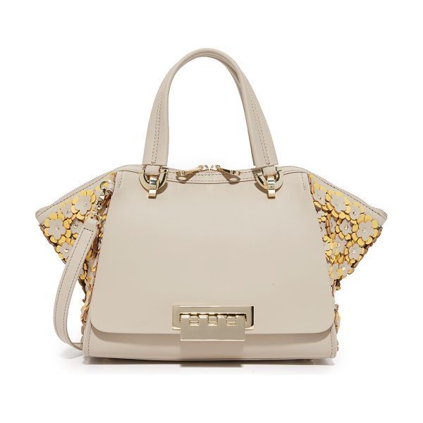 Zac Zac Posen eartha small double handle bag in dune - Floral appliqués cover the flared sides of this ZAC Zac...