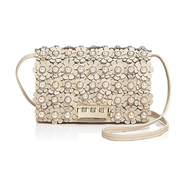 Zac Zac Posen Earthette Faux-Pearl Floral Leather Crossbody in ivory/gold - Zac Zac Posen Earthette Faux-Pearl Floral Leather...
