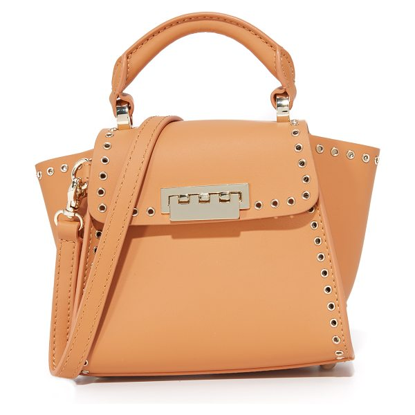 Zac Zac Posen Grommet eartha iconic mini top handle bag in apricot - Polished grommets trim this petite smooth leather ZAC...