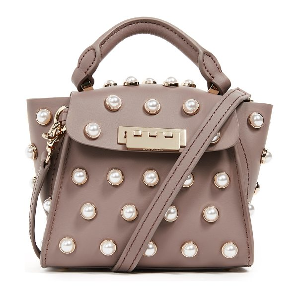 Zac Zac Posen pearl lady eartha mini top handle bag in stone - Leather: Calfskin Imitation pearl studs Hinged post at...