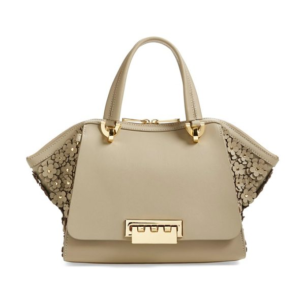 Zac Zac Posen Small eartha embellished leather top handle satchel in beige - A sophisticated fusion of vintage influence and modern...