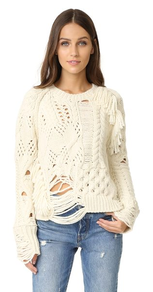 Zadig & Voltaire kary oversized destroyed sweater in ecru - Open knit panels lend a destructed feel to this chunky,...