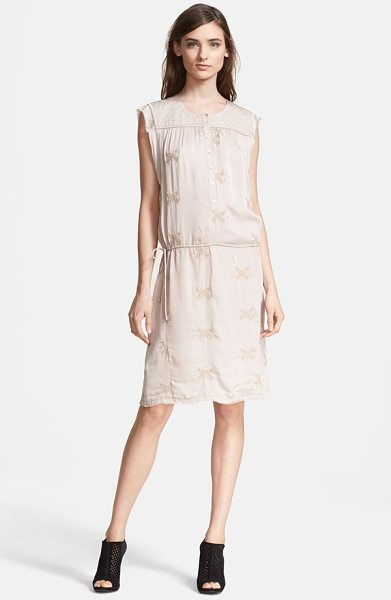 Zadig & Voltaire rafi embroidered shirtdress in champagne - A silken shirtdress with a brocade yoke framed by frayed...