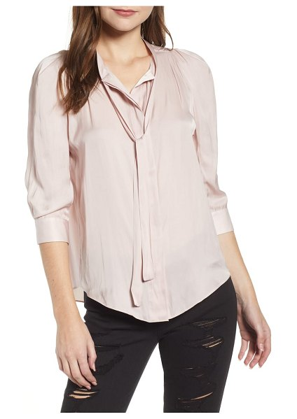 Zadig & Voltaire satin shirt in pink - Long, sophisticated ties hang from the collar of a chic...
