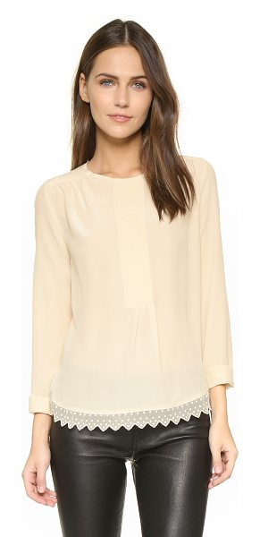 Zadig & Voltaire Tranoi blouse in ecru - Embroidered mesh trims the curved hem of this silk Zadig...