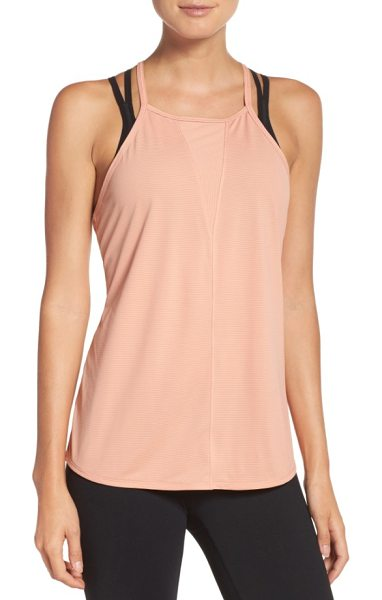 Zella body work stripe tank in coral muted - Ideal for the studio or your morning jogging route, this...