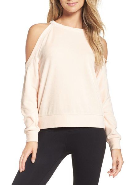 Zella cara velour cold shoulder top in pink scallop - Like your favorite top and sweatshirt combined, this...