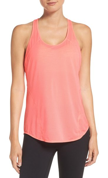 Zella pace tank in pink spray - A perforated knit keeps air flowing through this drapey...