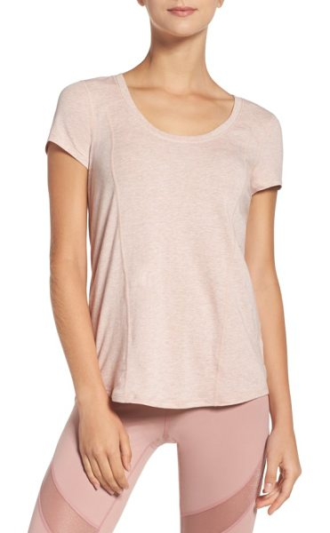 Zella 'siesta' studio tee in pink dusk heather - A scooped neck, contoured seams and rounded high/low hem...