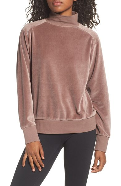Zella velour mock neck top in tan dusk - This supersoft velour mock-neck top is perfect for...