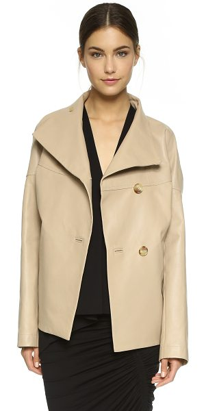 Zero + Maria Cornejo Drill leather osita bomber jacket in sand - This rich leather Zero + Maria Cornejo jacket cuts a...