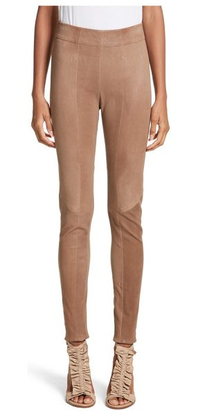 Zero + Maria Cornejo lambskin leather skinny pants in clay - Front and back seams accentuate the figure-hugging fit...