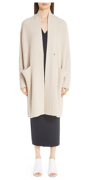 Zero + Maria Cornejo lia cashmere & merino wool sweater in beige - Dropped shoulders relax this ribbed sweater-coat knit...