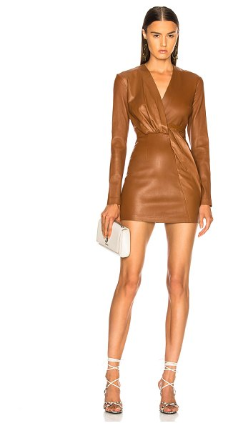Zeynep Arcay belted leather mini dress in tobacco