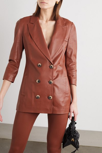 Zeynep Arcay double-breasted leather blazer in brown