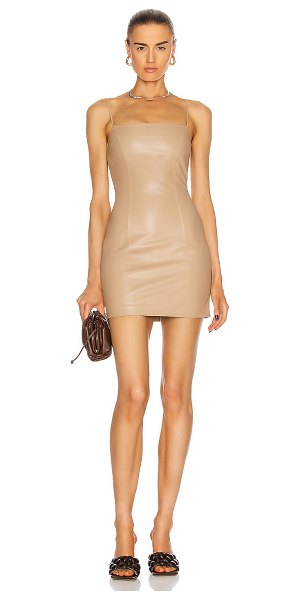Zeynep Arcay mini spaghetti leather dress in beige