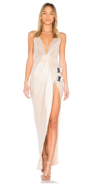 Zhivago Do or Die Gown in metallic neutral - Poly blend. Hand wash cold. Fully lined. Metallic...
