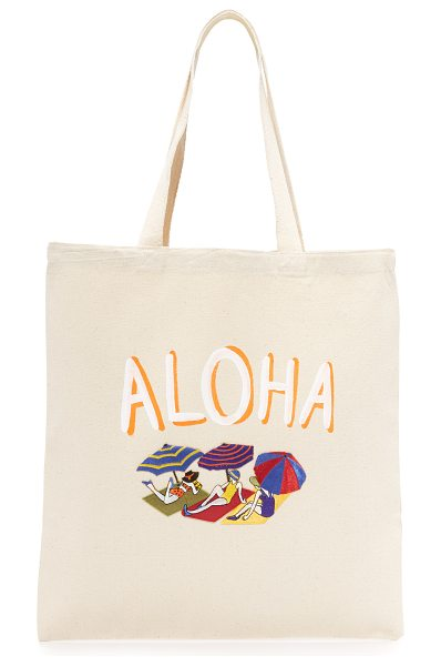 Zhuu aloha tote in natural - A lightweight Zhuu tote accented with playful 'Aloha'...