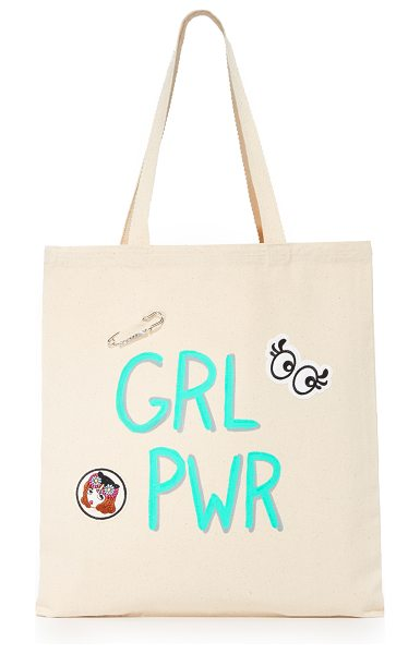 Zhuu grlpwr tote in natural - A lightweight Zhuu tote accented with playful 'GRLPWR'...