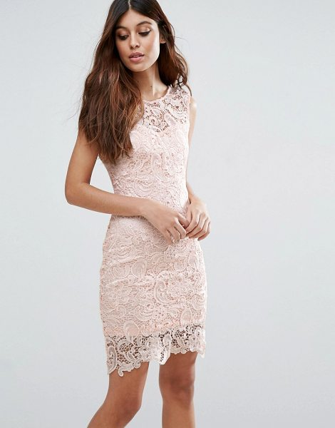 "ZIBI LONDON Crochet Lace Pencil Dress - """"Dress by Zibi London, Lined crochet lace, Round neck,..."
