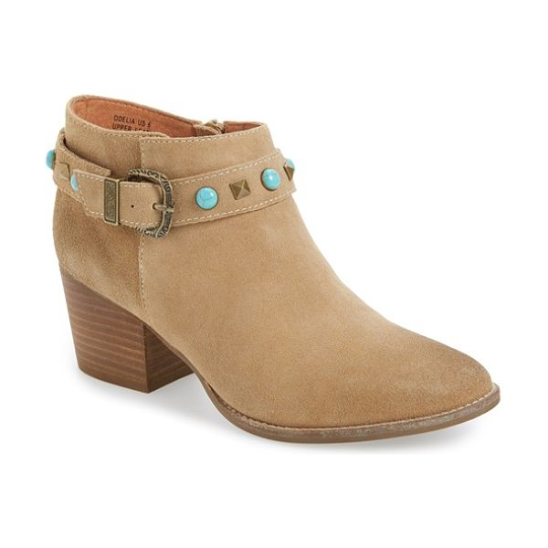 ZiGi girl odelia block heel bootie in sand faux leather - Pyramid studs and turquoise-hued stones amplify the...