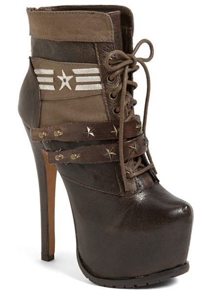 ZiGi girl skybox platform bootie in dark taupe - Metal stars and canvas panels lend a vintage vibe to a...
