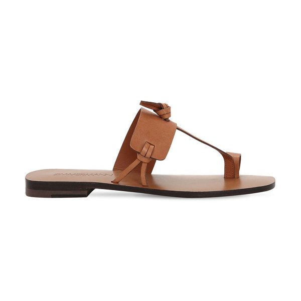 Zimmermann 10mm knotted leather flat sandals in brown